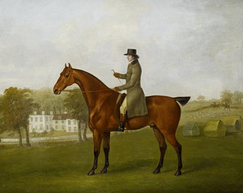 a gentleman mounted on his bay hunter in the grounds of his house by john nost sartorius