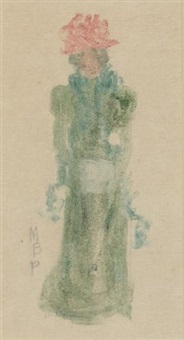 lady in green dress and red hat by maurice brazil prendergast