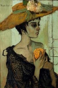 femme au chapeau fleuri by françoise adnet