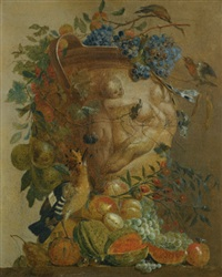 a still life of melons, grapes, peaches and other fruits in a stone urn with birds by jacobus vonck