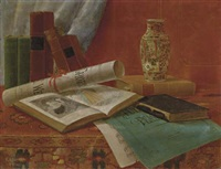 still life with books and newspaper by nicholas alden brooks