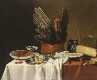 a still life with a turkey pie, cherries on a plate by g. vervoorn