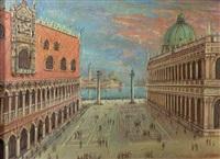 venise - la piazzetta san marco, hommage à canaletto by jean daprai
