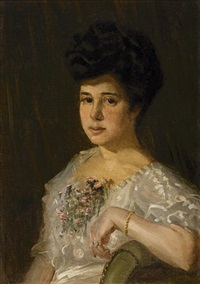lady with bouquet of flowers by symeon sabbides