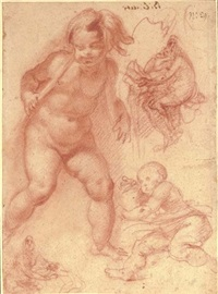 an infant looking down to the left by giovanni bilivert