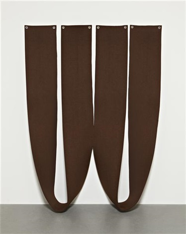 untitled brown felt piece in 2 parts by robert morris