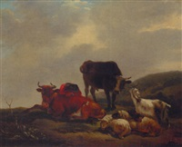 a landscape with a herdsman resting amongst cattle and sheep by jean-françois legillon