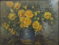 yellow flowers in blue pot by costache agafitei