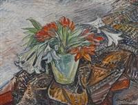 blumenstillleben (lilien) by julius hüther