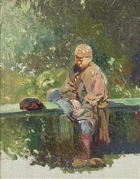 study of a boy resting on a bench by konstantin egorovich makovsky