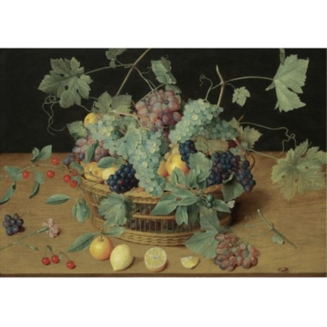 a still life with fruit in a basket including bunches of grapes and lemons cherries and oranges on the wooden table beneath by isaac soreau