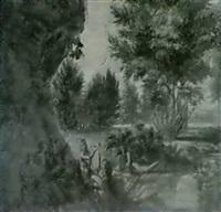 apollon jouant de la lyre pourdes nymphes et un dieu fleuve dans un paysage (recto);un nu (verso) by louis-charles-auguste couder