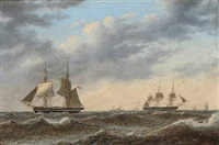 seascape with sailing ships by carl emil baagöe