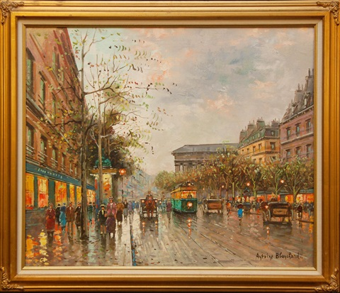 street scene with people carriages trolleys buildings and trees by antoine blanchard