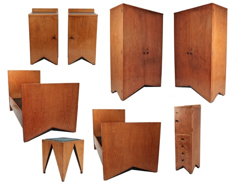 Set of bedroom furniture - 8 pieces by Vlastislav Hofman on artnet