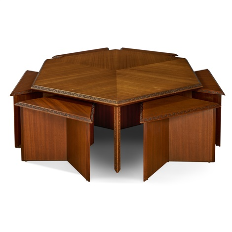 Hexagonal Coffee Table With Six Triangular Stools By Frank Lloyd Wright On Artnet