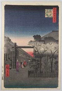 série des 100 vues célèbres d'edo. planche 39 - kakuch? shinonome. aurore à yoshiwara by ando hiroshige