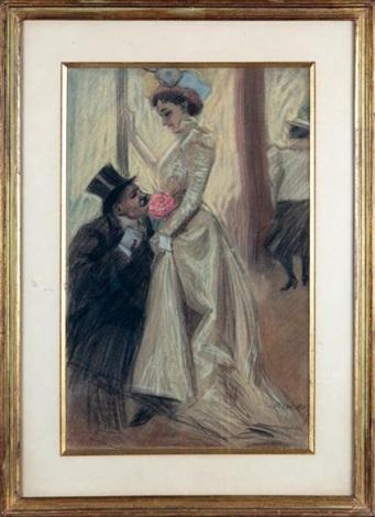 homme en haut de forme agenouillé devant une jeune femme à la pivoine by antoine guillaume tony minartz