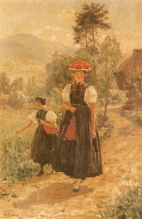figures before a cottage in a mountainous landscape (black forest?) by wilhelm g. hasemann