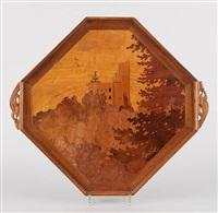 plateau de forme octogonale en placage et marqueterie au décor de paysage avec château, prises au motif de dragons by émile gallé