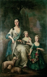 portrait of mrs. mytton of halston nee letitia owen, seated in a landscape with her two young daughters, letitia and anna by richard (risaert van) bleeck