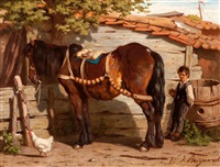 workhorse with farm hand by willem jacobus boogaard