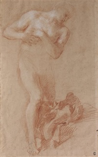 la figure du christ (study for baptême du christ)(+ ange et un homme penché (study); verso) by guillaume courtois