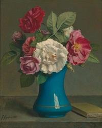rosen in einer blauen vase by francois figuiere