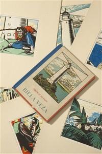 weißer leuchtturm, satz von 8 illustrationen für das buch weißer leuchtturm von nikolaj jelenev by eugenia orlova