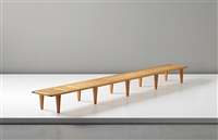 unique and long bench, model no. 574, commissioned by anker petersen, copenhagen by hans j. wegner