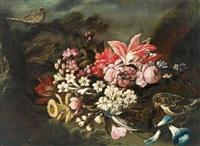 natura morta di fiori e uccelli in un giardino by giuseppe vicenzino