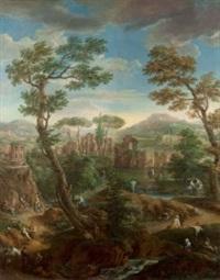 paesaggio con vista su borghetto (+ 3 others; 4 works) by paolo anesi and paolo monaldi