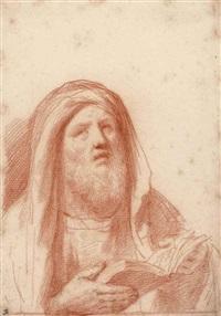 prophète tenant un livre ouvert by guercino