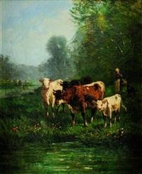 bergère menant ses vaches à l'abreuvoir by andré cortes