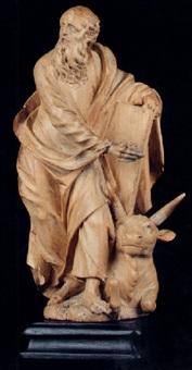 heiliger lukas auf einer wiese stehend by marian rittinger