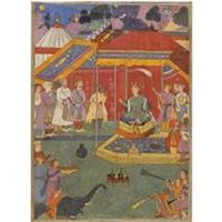yudhishthira and his brothers ask bhishma for his permission to fight (from the razmnama) by yusuf ali