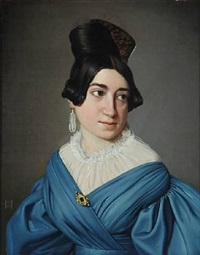 portrait of a young lady in blue dress with gold brooch by niels peter holbech