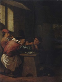 two men drinking with another playing a recorder in an interior by johannes natus