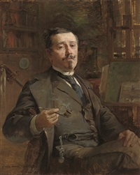 professeur paul laurent courtot smoking a pipe by auguste aridas