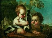 deux putti jouant avec des colombes by joseph melling