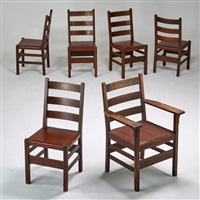 assembled set of six ladderback dining chairs by gustav stickley