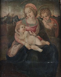 the madonna and child with the infant saint john the baptist before an open landscape by francesco del brina