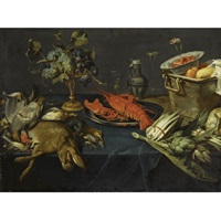 still life with a lobster on a silver dish, a dead hare and other game, blue and white grapes on a silver-gilt tazza, artichokes, asparagus, a wan-li kraak bowl with strawberries in a copper bucket, all arranged on a table draped with a blue velvet cloth by frans snijders
