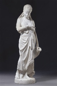 a young sicilian maiden carrying an amphora by orazio andreoni