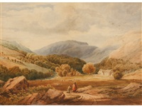 mountainous landscape view with figures on a path before sheep by copley fielding