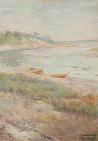 matin d'hiver sur le blavet à marée basse by jean bertrand pegot-ogier