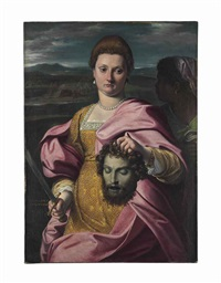 portrait of olimpia luna as judith and melchiorre zoppio as holofernes by agostino carracci