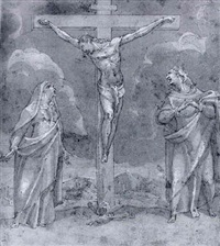the crucifixion with the virgin and saint john the evangelist by andrea boscoli