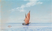 segelboote (+ anohter, pastel; 2 works) by heinrich leitner