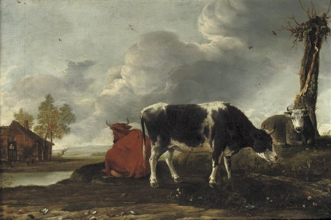 cattle on a riverbank with a cottage beyond by anthonie van borssom